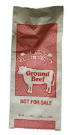 Ground Beef Poly Bag will hold 1 lb. of meat.  Click on the picture to enlarge.