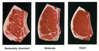 Photographs of 3 Beef Rib Steaks showing the different amount of marbling - which is one of the determining factors in the USDA Grade label of beef.