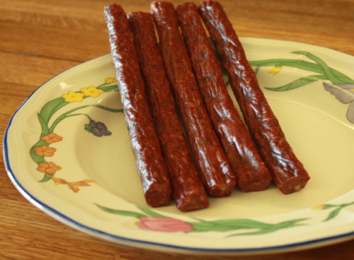 Here's a photo of 5 finished snack sticks.  Click on the photo to enlarge.